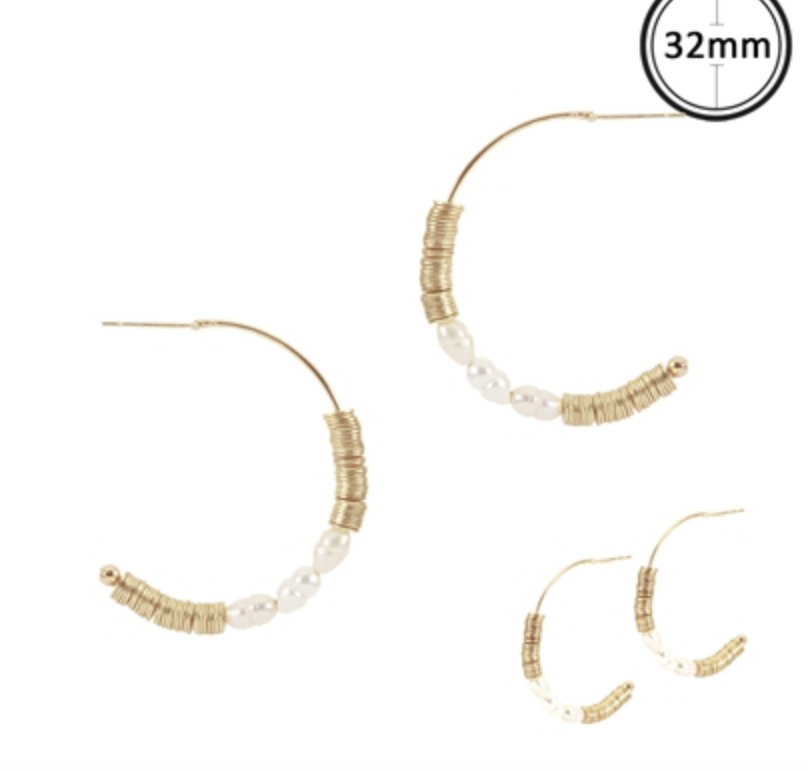 "Gold Hoop 2"" Earring with Freshwater Pearl Drop"