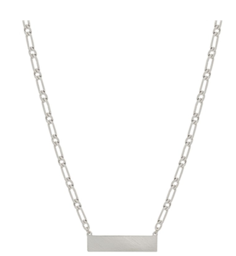 "Matte Silver Bar with Link Chain 16""-18"" Necklace, Great for Layering"