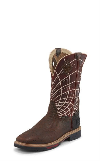 Justin Work Ostrich Print Waterproof (Composite Toe) Boot