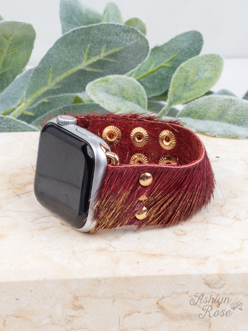 Furry Leather Buckle Apple Watchband
