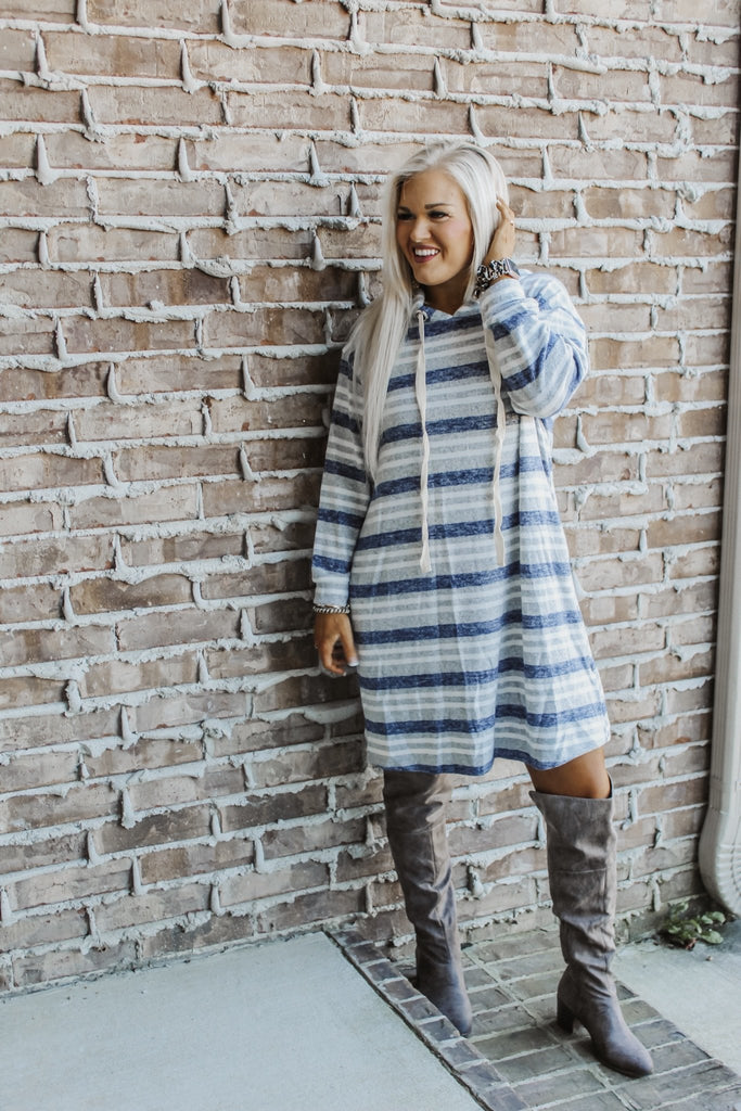 Say Anything Cozy Striped Dress PLUS