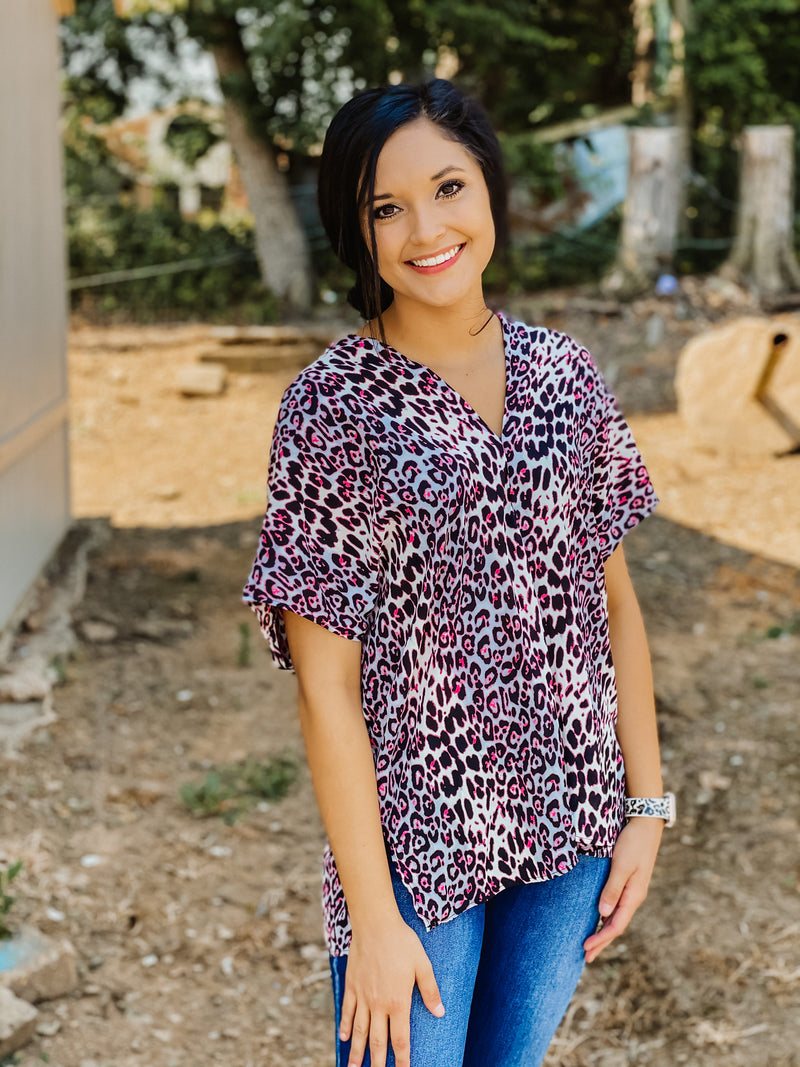Get Obsessed Leopard Top PINK