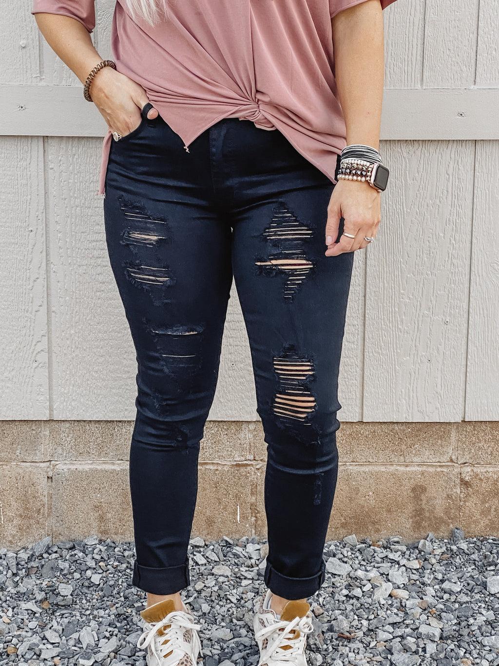 The Bea Black Distressed Kancan Skinny Jean