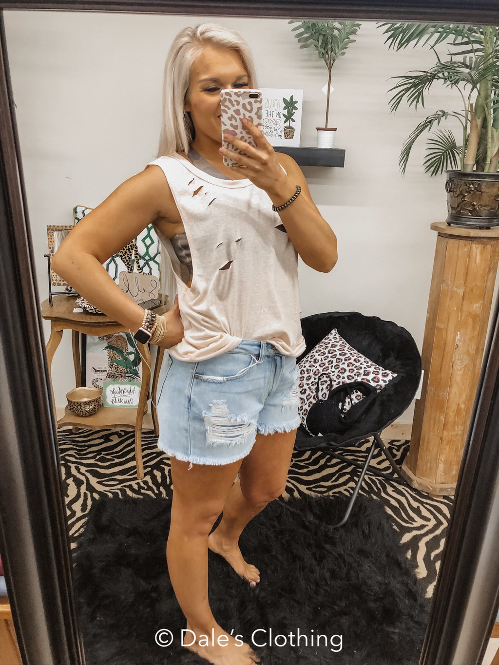 Edgy Vibes Distressed Tank BLUSH