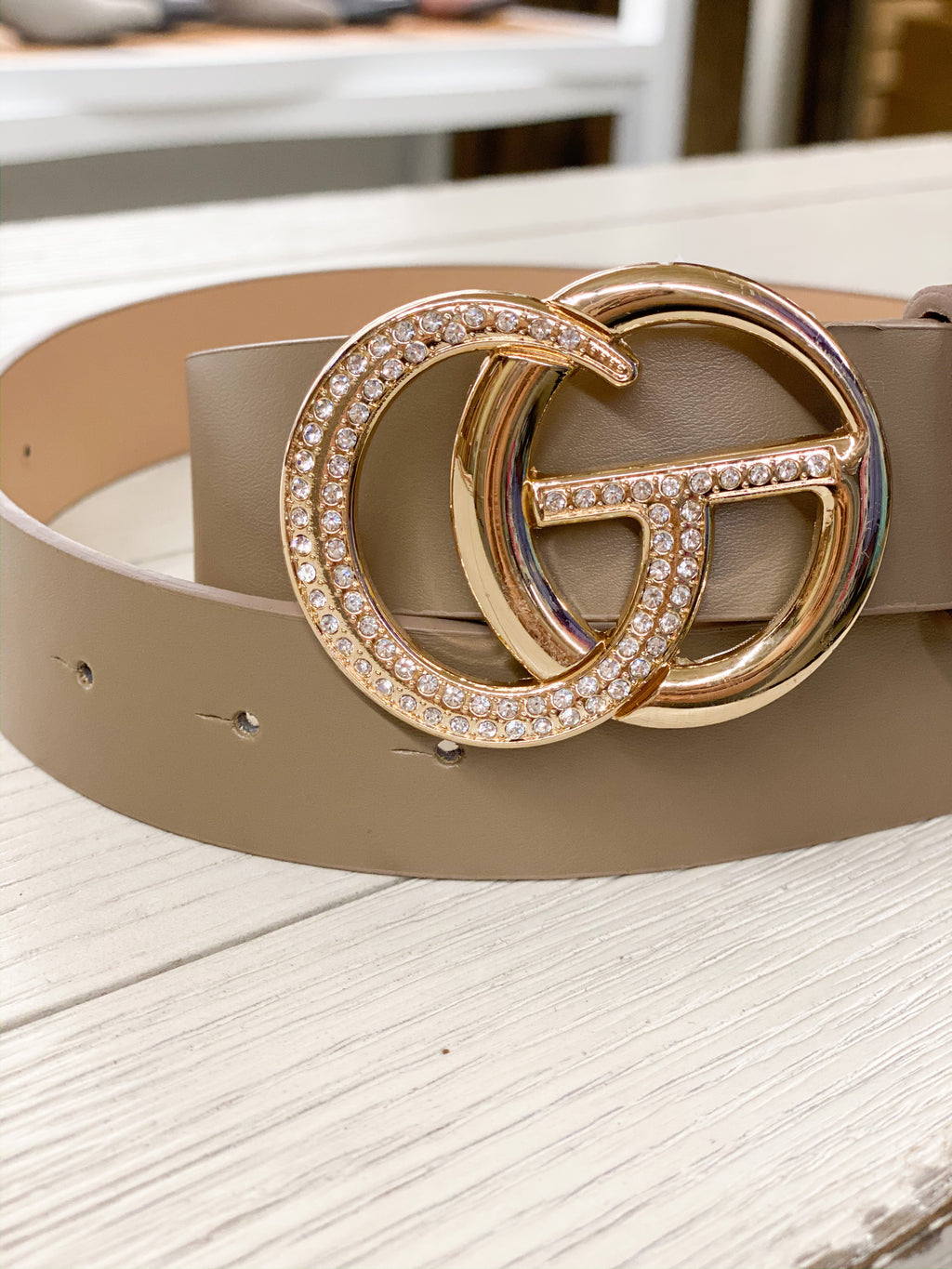 The Latest Trend Rhinestone Belt Khaki