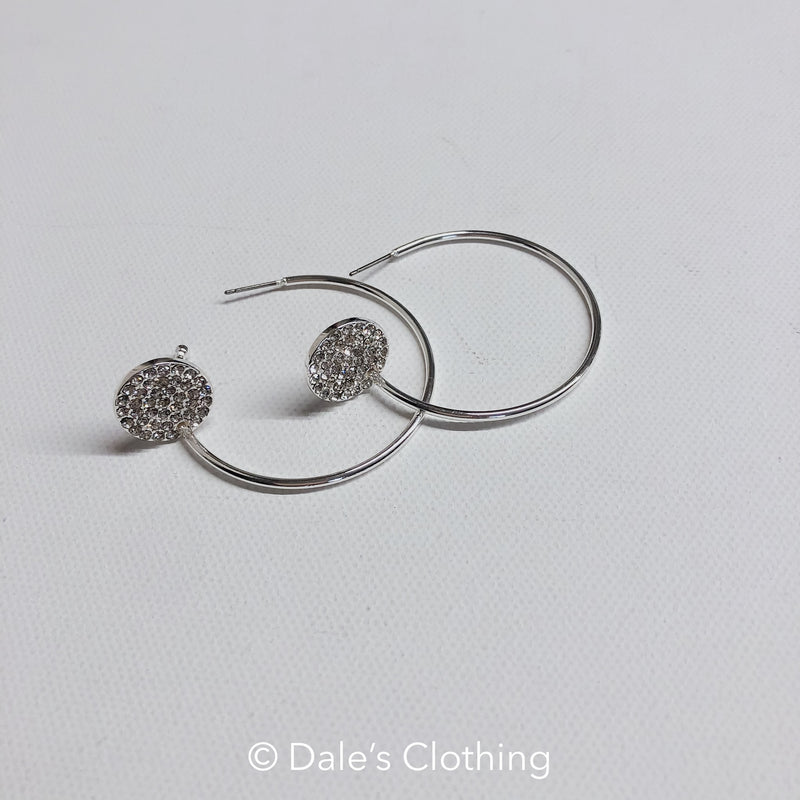 Silver Hoop with Rhinestone