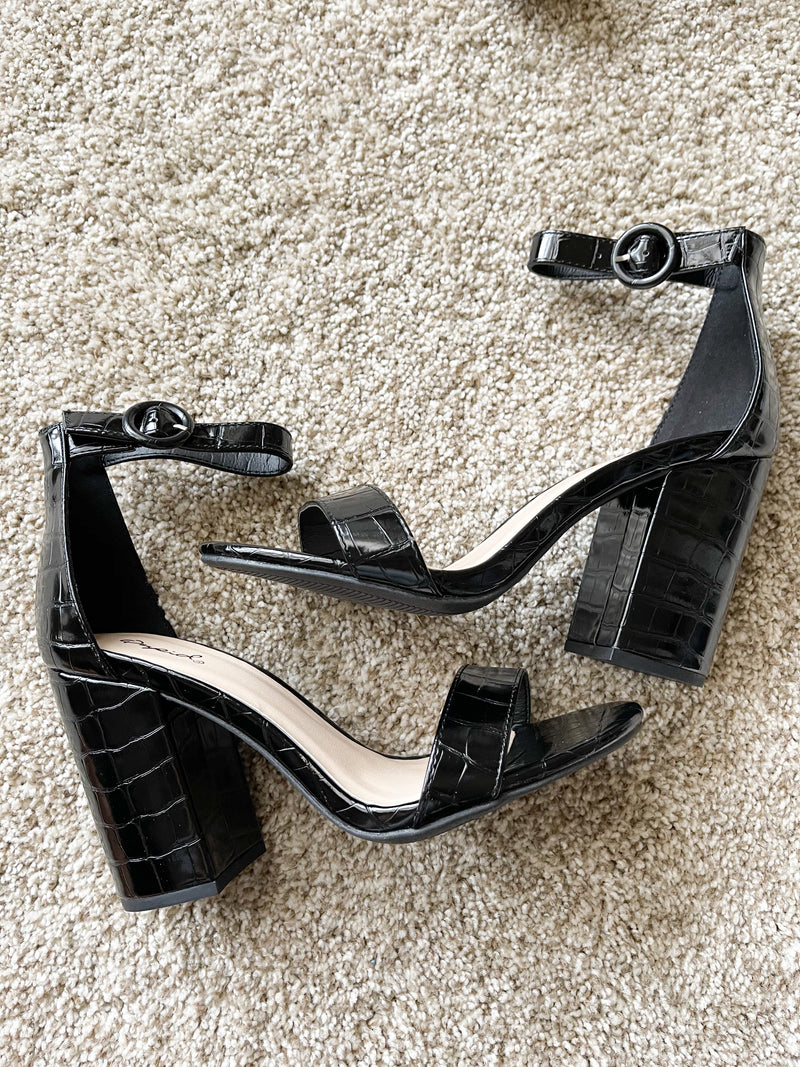 The Black Croc One Strap Heel
