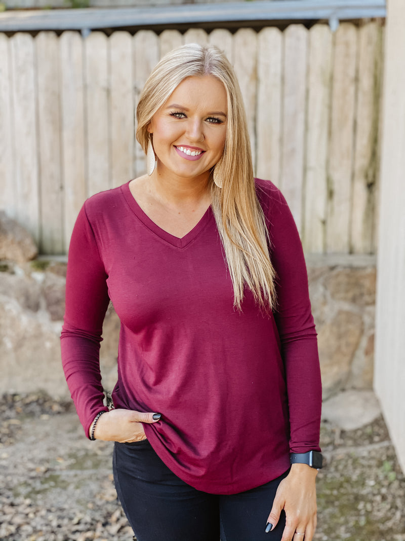 The Everyday Basic Top DK BURGUNDY