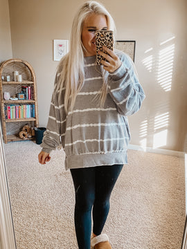 Fireplace Cuddles Striped Cozy Top