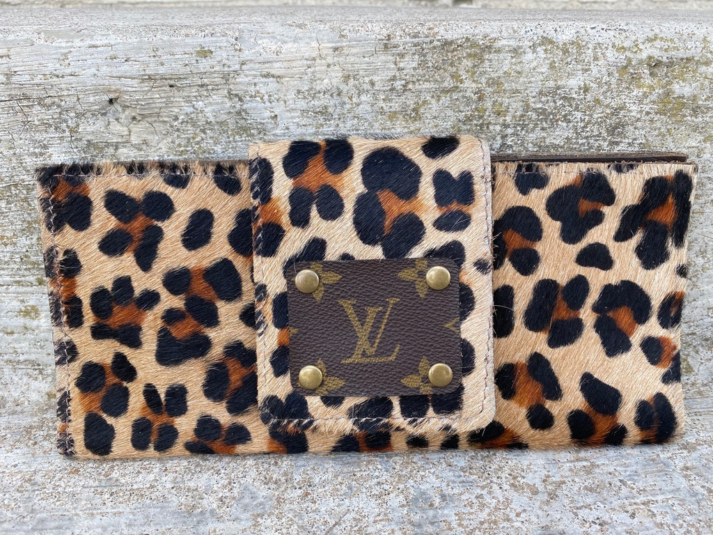 Leopard Upcycled Louis Vuitton Wallet