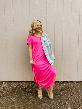 Stand Out Hot Pink Maxi Dress