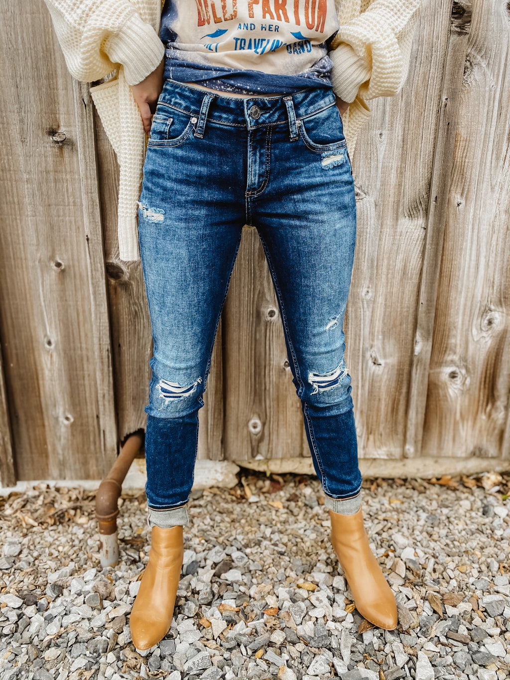 Elyse Mid Rise Skinny Jean By Silver 31""