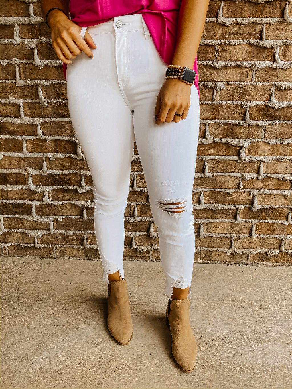 The Bay White Distressed Skinny Jeans by Kancan