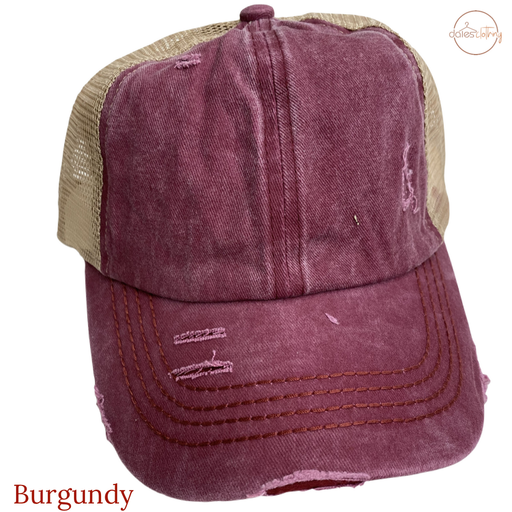 Washed Denim Criss Cross High Pony CC Ball Cap BURGUNDY