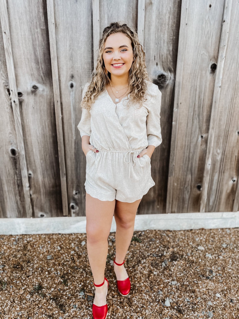 Something To See Scalloped Romper Oatmeal