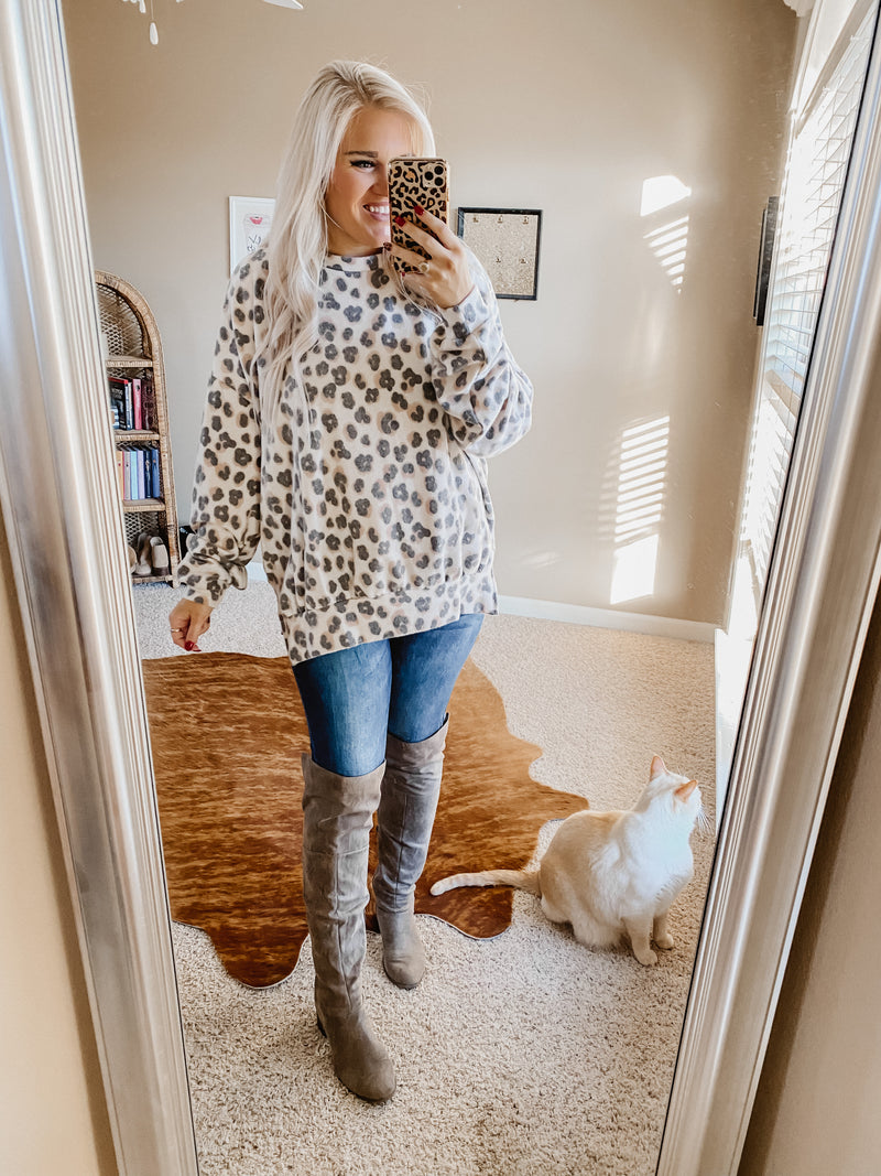 Fireplace Cuddles Grey Leopard Oversized Top