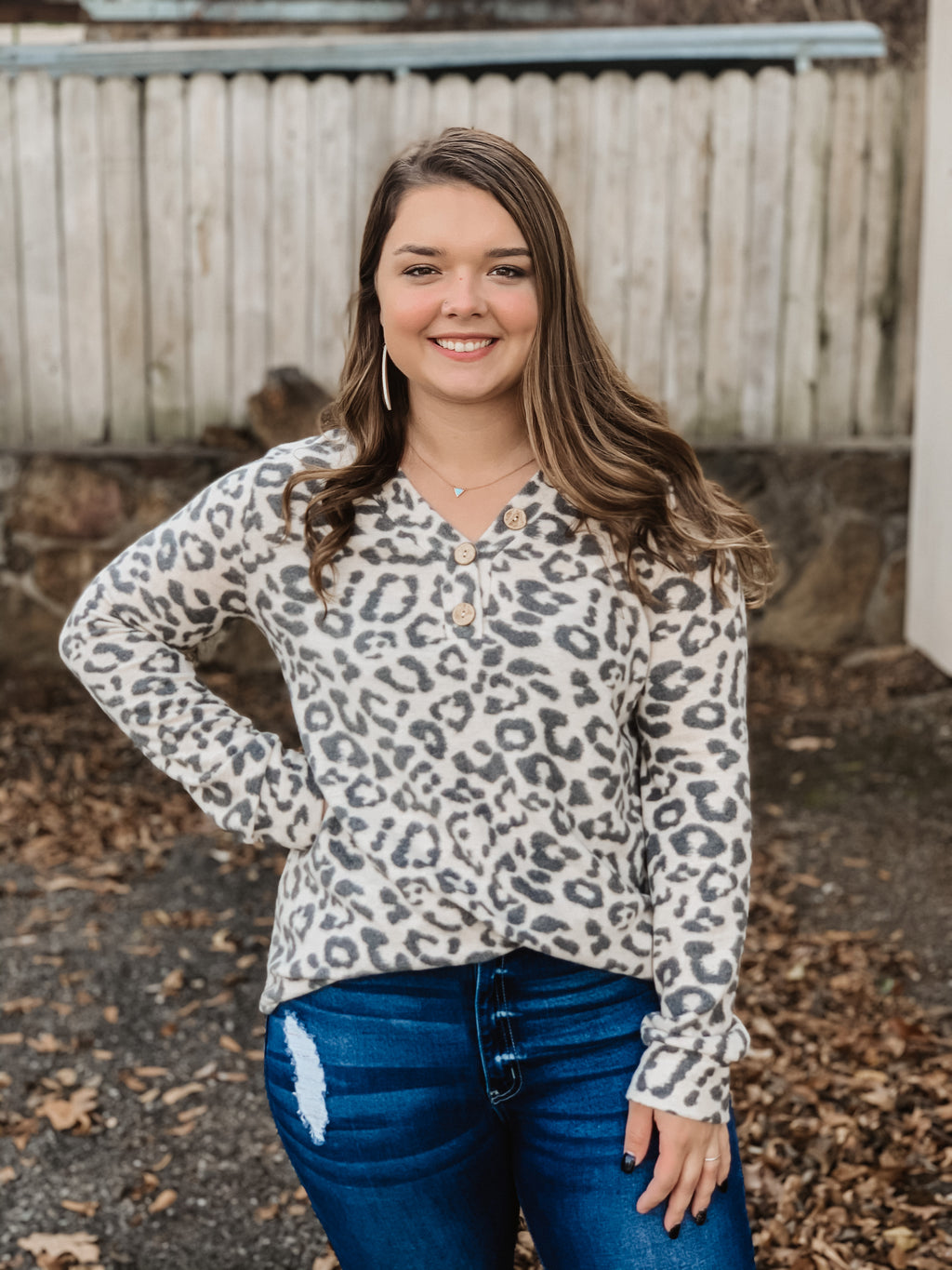 Anywhere with You Leopard Cozy Top