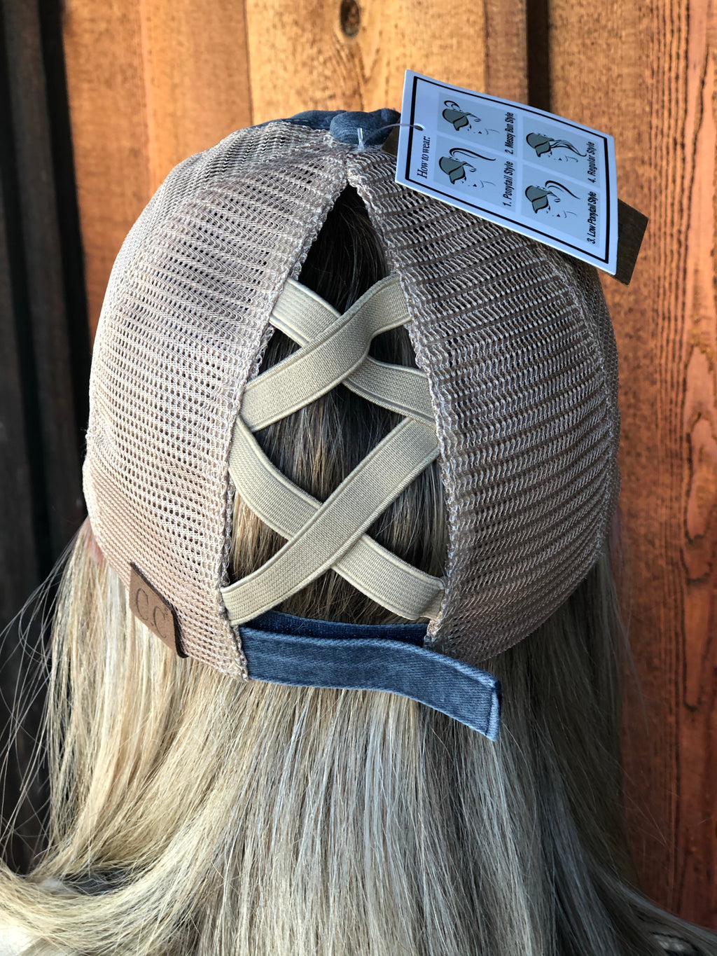 Washed Denim Criss Cross High Pony CC Ball Cap NAVY