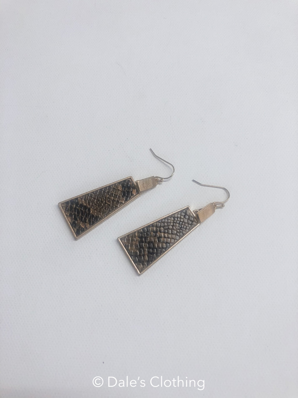 Grey Snake Gold Triangle Earring