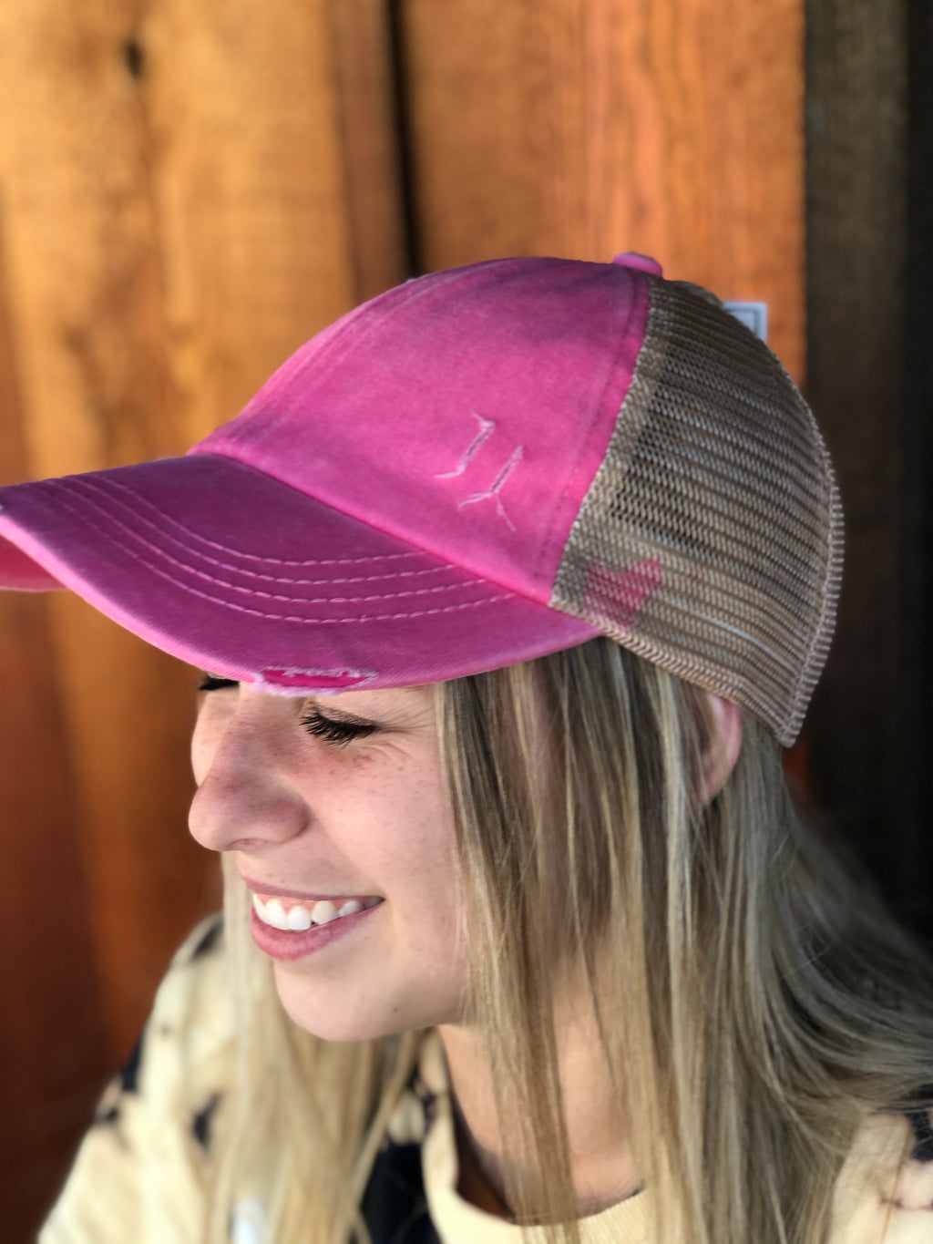 Washed Denim Criss Cross High Pony CC Ball Cap PINK