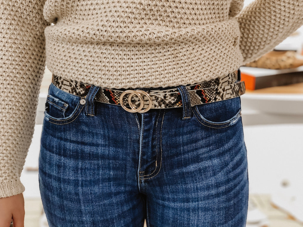 Winner's Circle Skinny Muilt Snake Belt