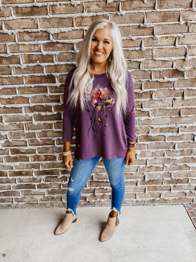 Jess & Jane Country Posy Button Accent Tunic Top