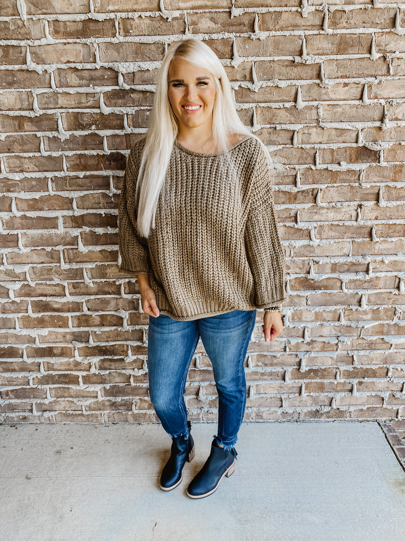 Olive Drab Bubble Sweater