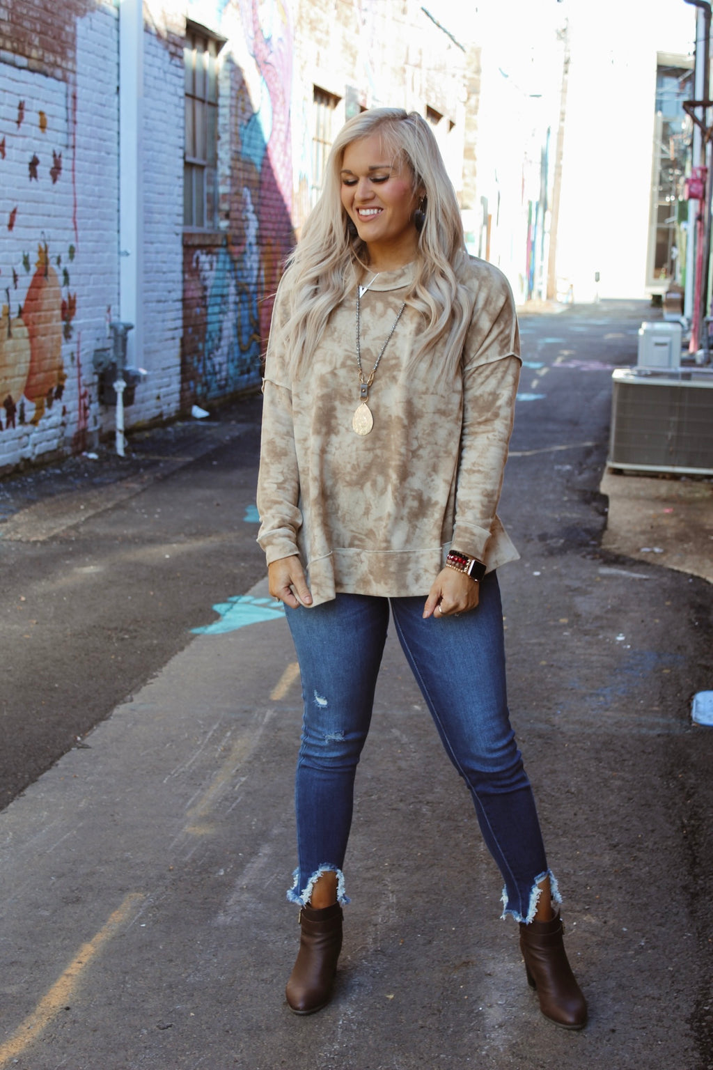 Take it Slow Tie Dye Sweatshirt TAUPE