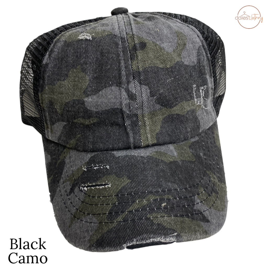 Distressed Camouflage High Pony CC Ball Cap BLACK