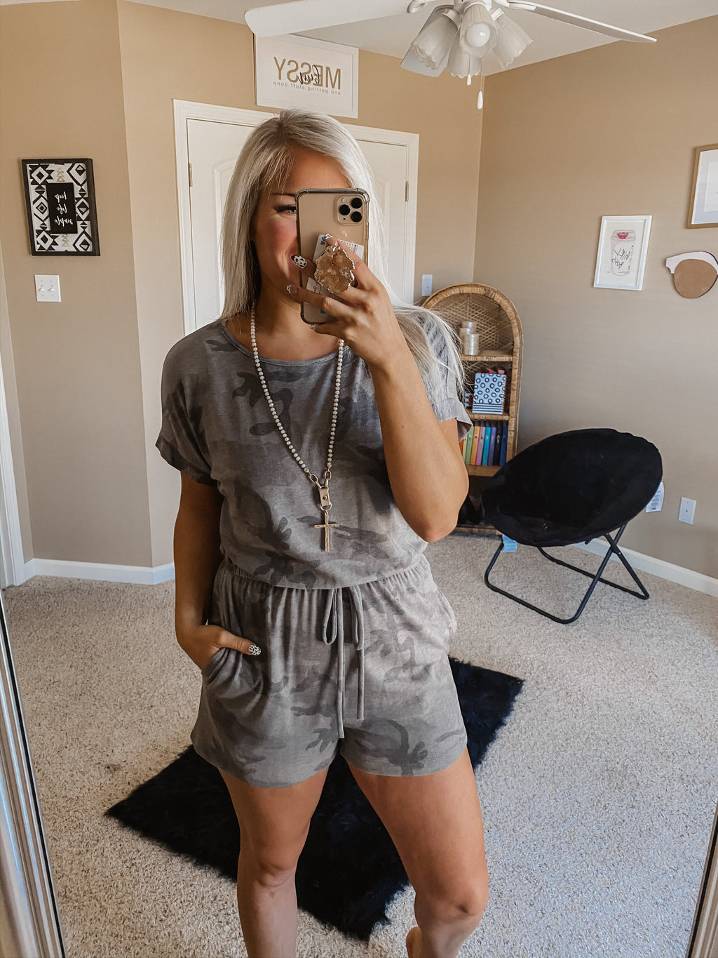 What Makes You Happy Camo Romper