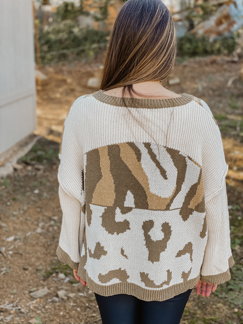 October Stroll Animal Print Sweater