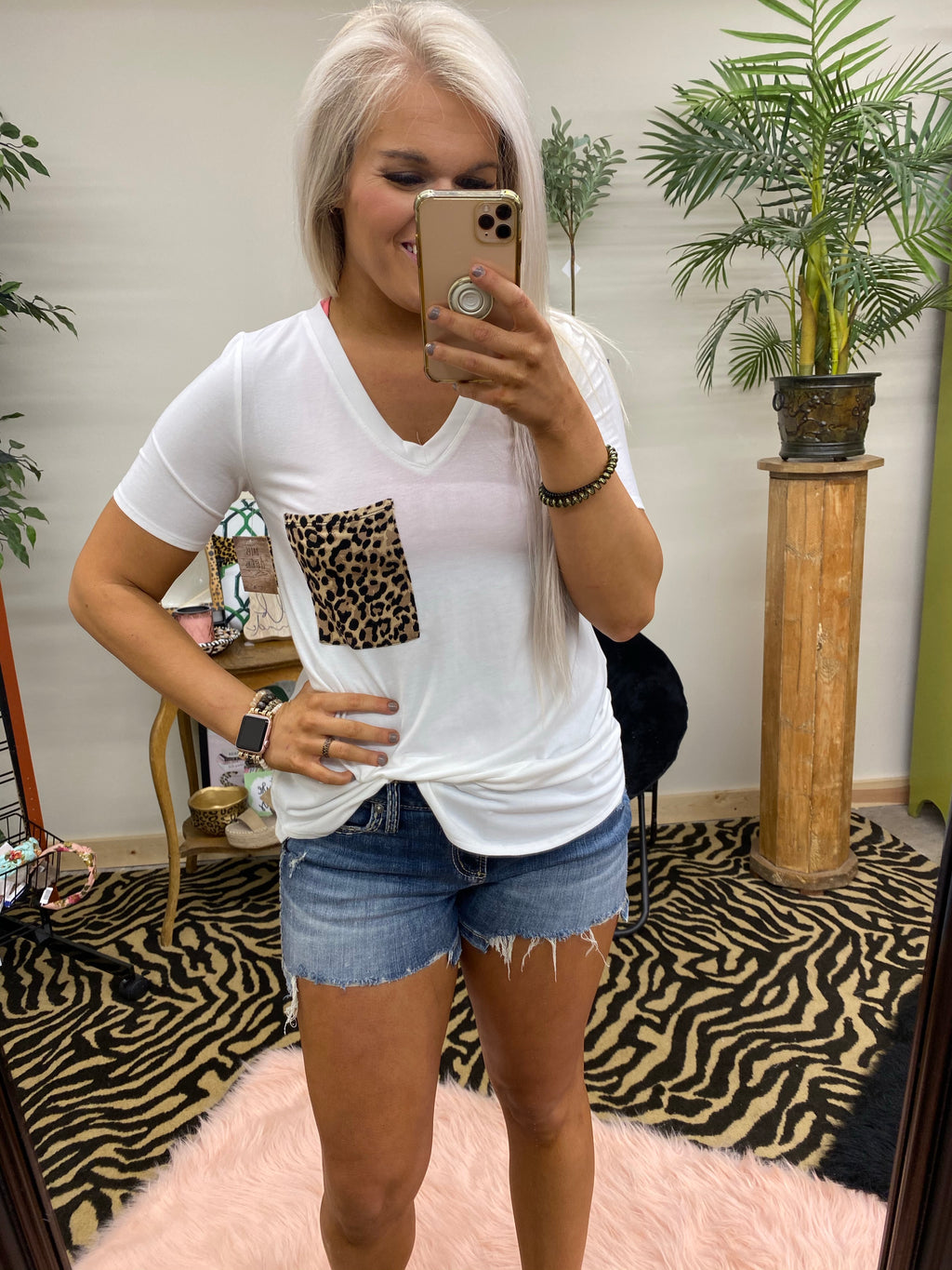 Time Of Your Life Leopard Pocket Top IVORY