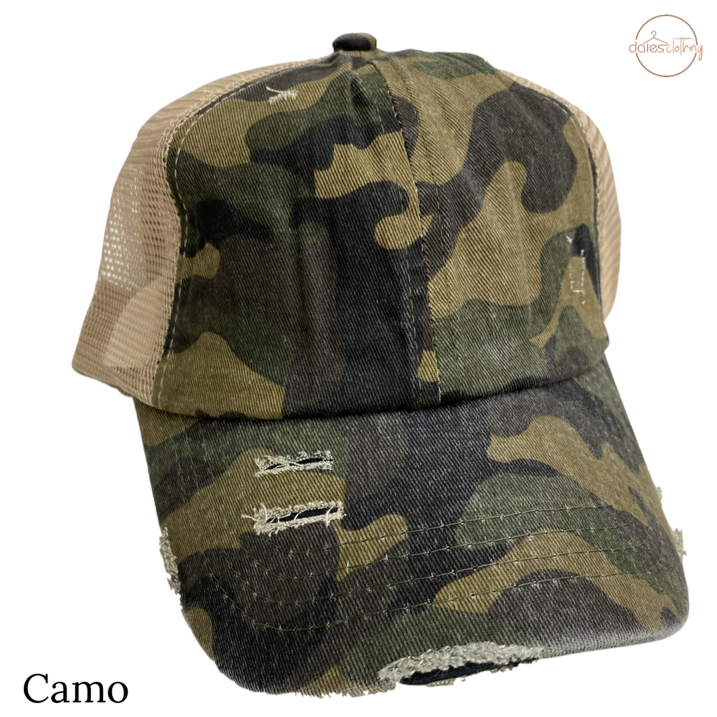 Distressed Camouflage Criss Cross High Pony CC Ball Cap OLIVE