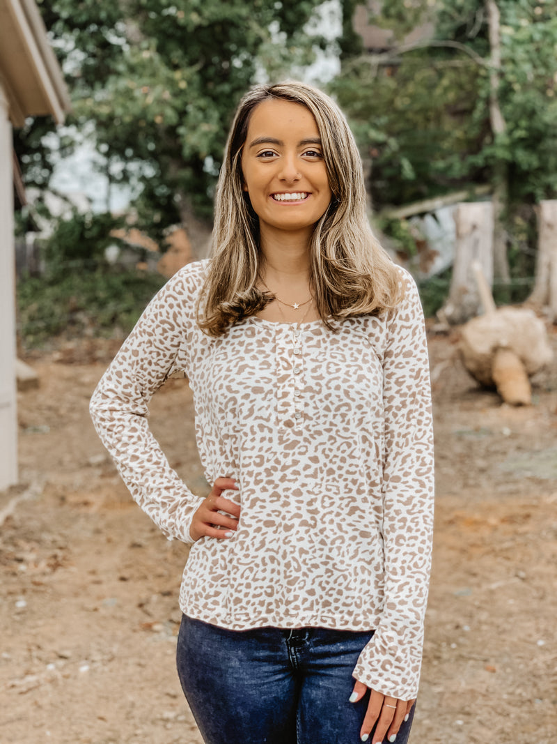 Lovely Leopard Top IVORY LEO