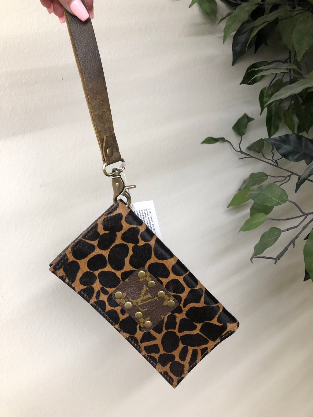 Trifold Upcycled LV Wallet GIRAFFE