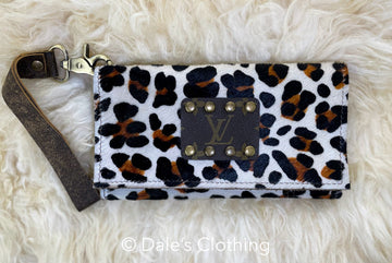 Cheetah Upcycled LV Wristlet
