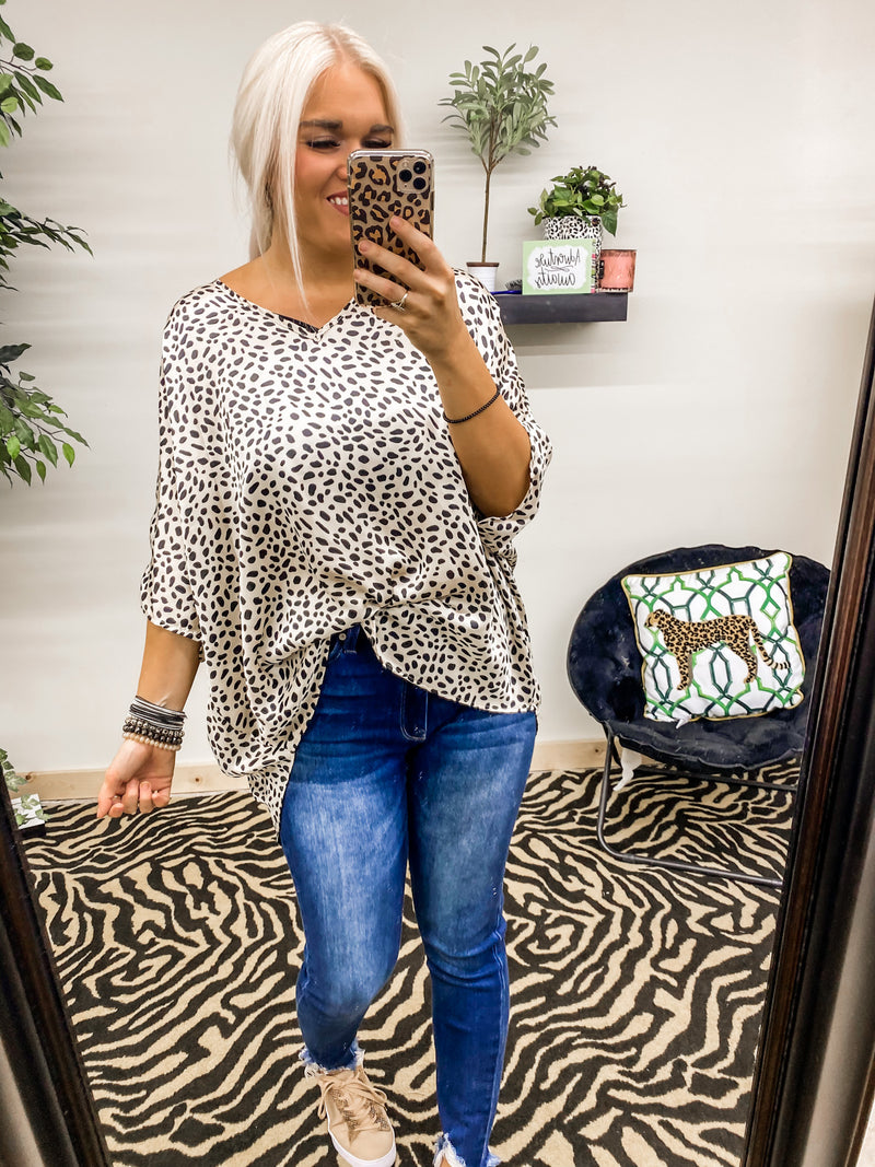 Fall Lover Oversized Top Silky Dalmatian