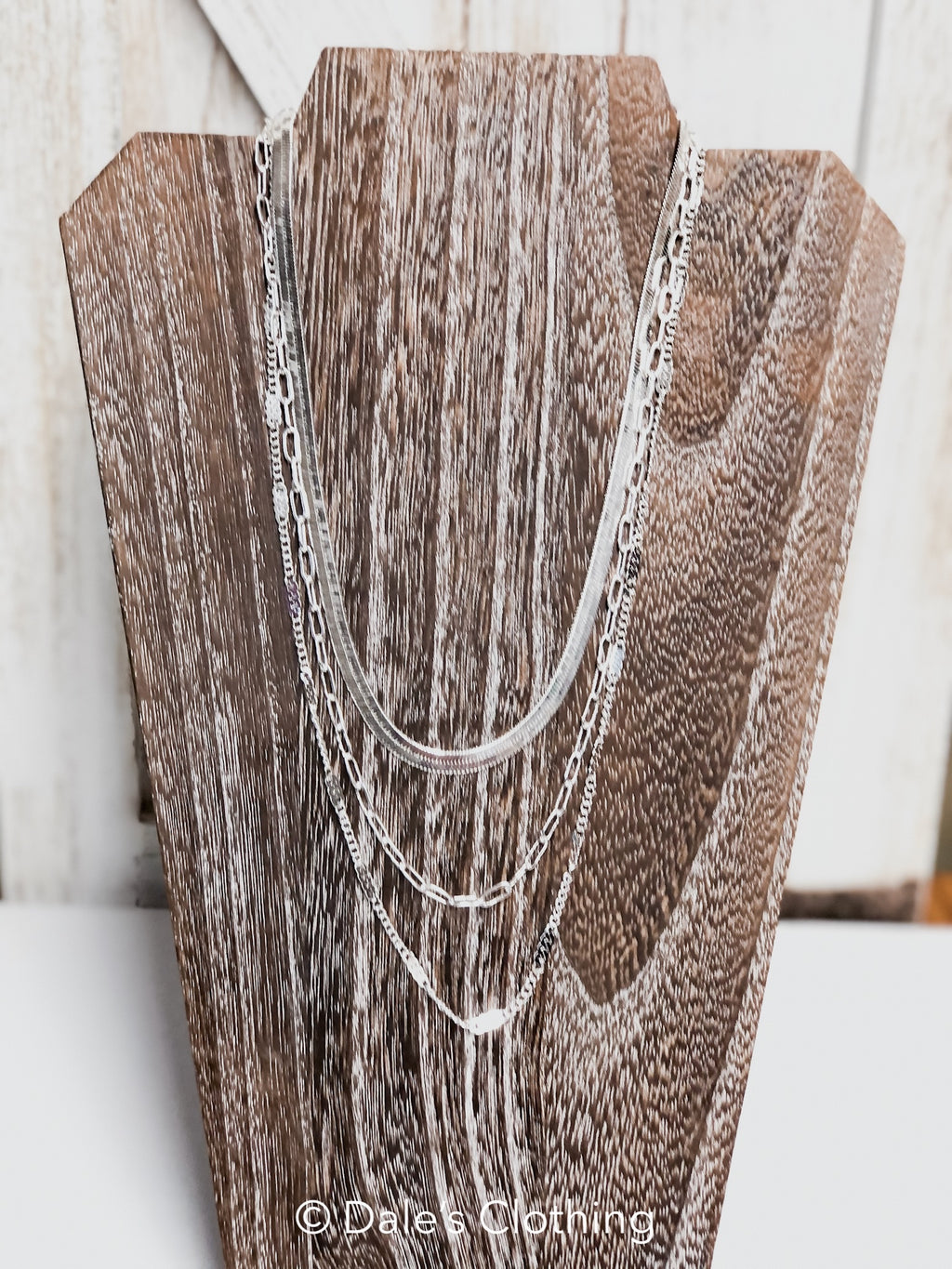 Triple Layer Silver Chain Necklace