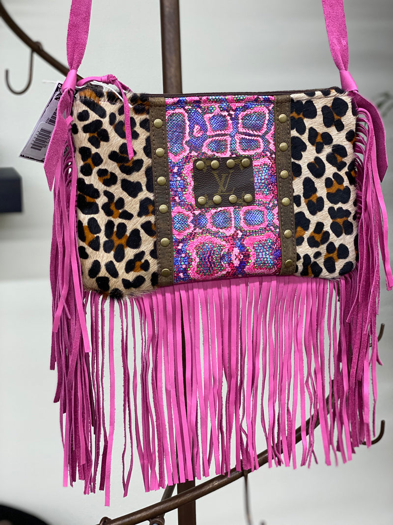 Maxine Upcycled Leather Leopard And Snake Pink Fringe Crossbody