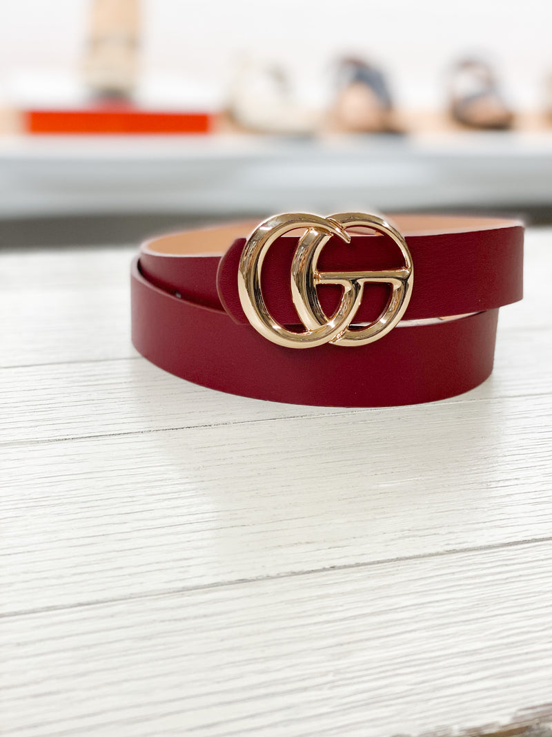 The Gucci Inspired Belt BURGUNDY