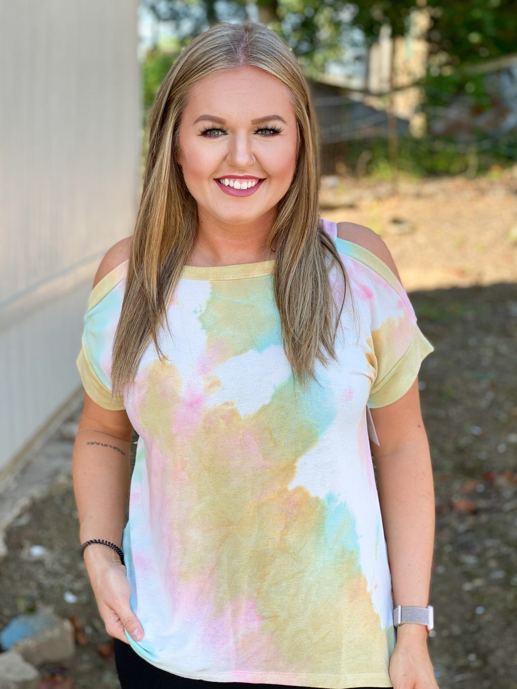 Expect Nothing Less Tie Dye Cold Shoulder Top