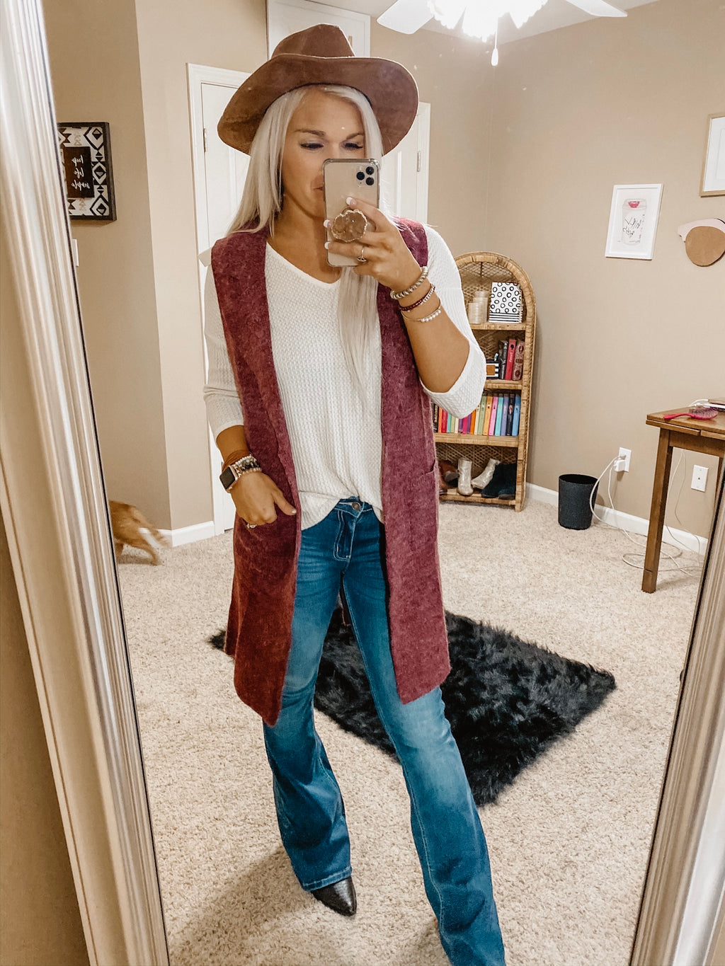 My Way Duster Vest BURGUNDY