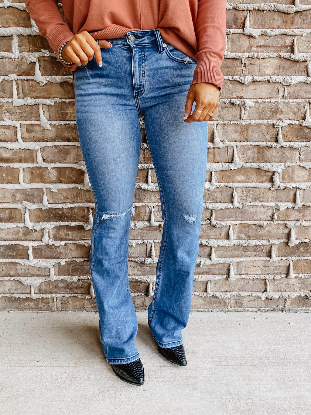 The Jessi Distressed Flare Jeans