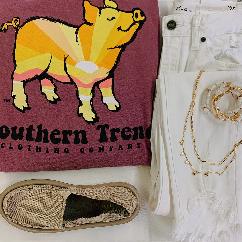 Sunrise Pig Long Sleeve Tee Southern Trend