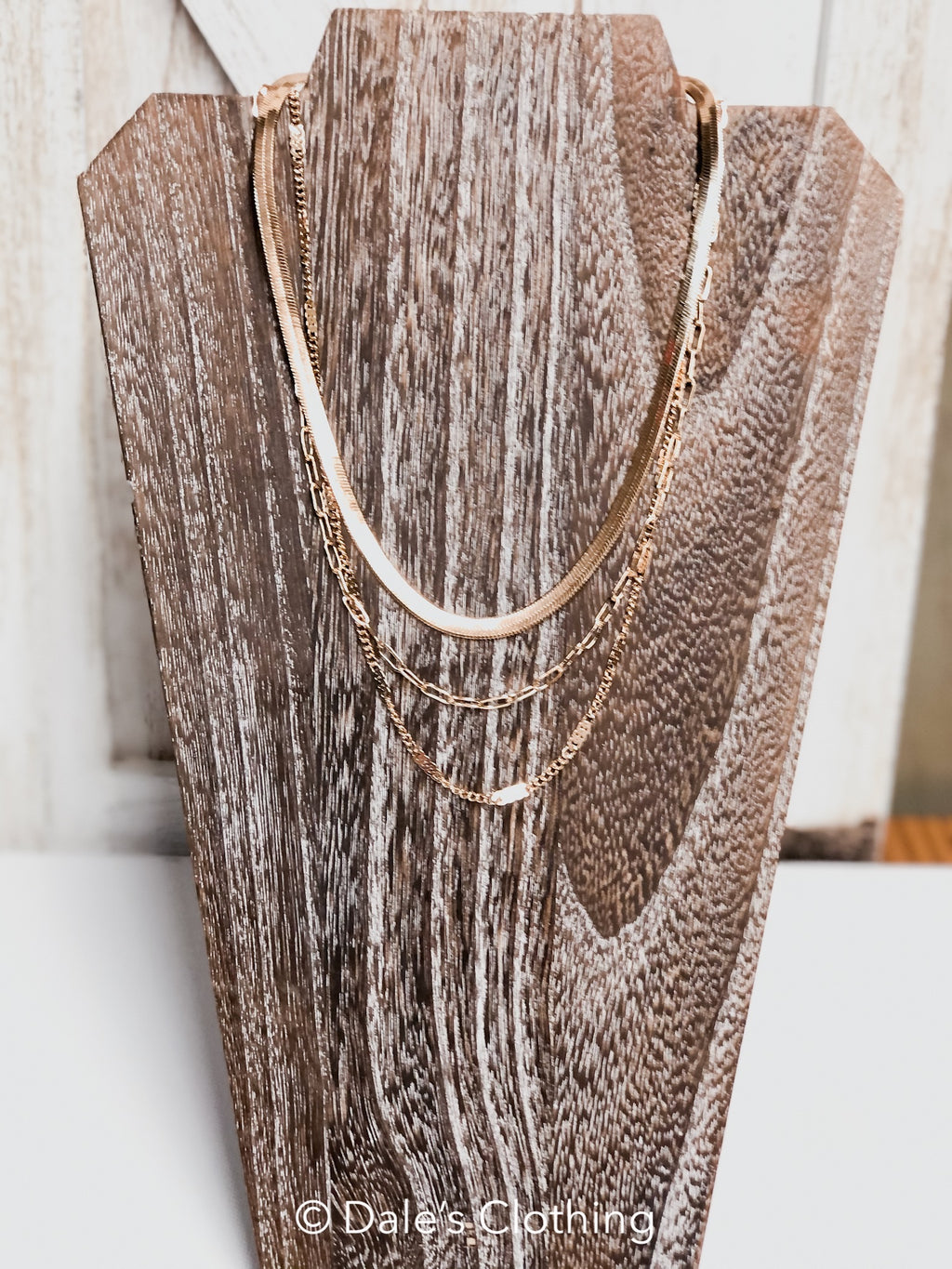 Triple Layer Gold Chain Necklace