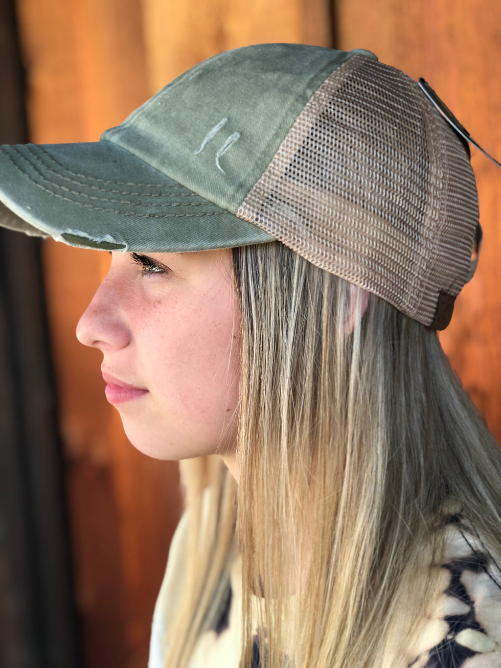 Washed Denim Criss Cross High Pony CC Ball Cap OLIVE