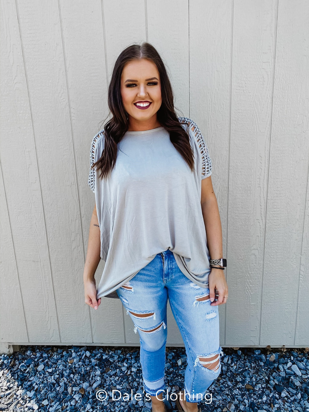 Stay A While Braided Sleeve Top
