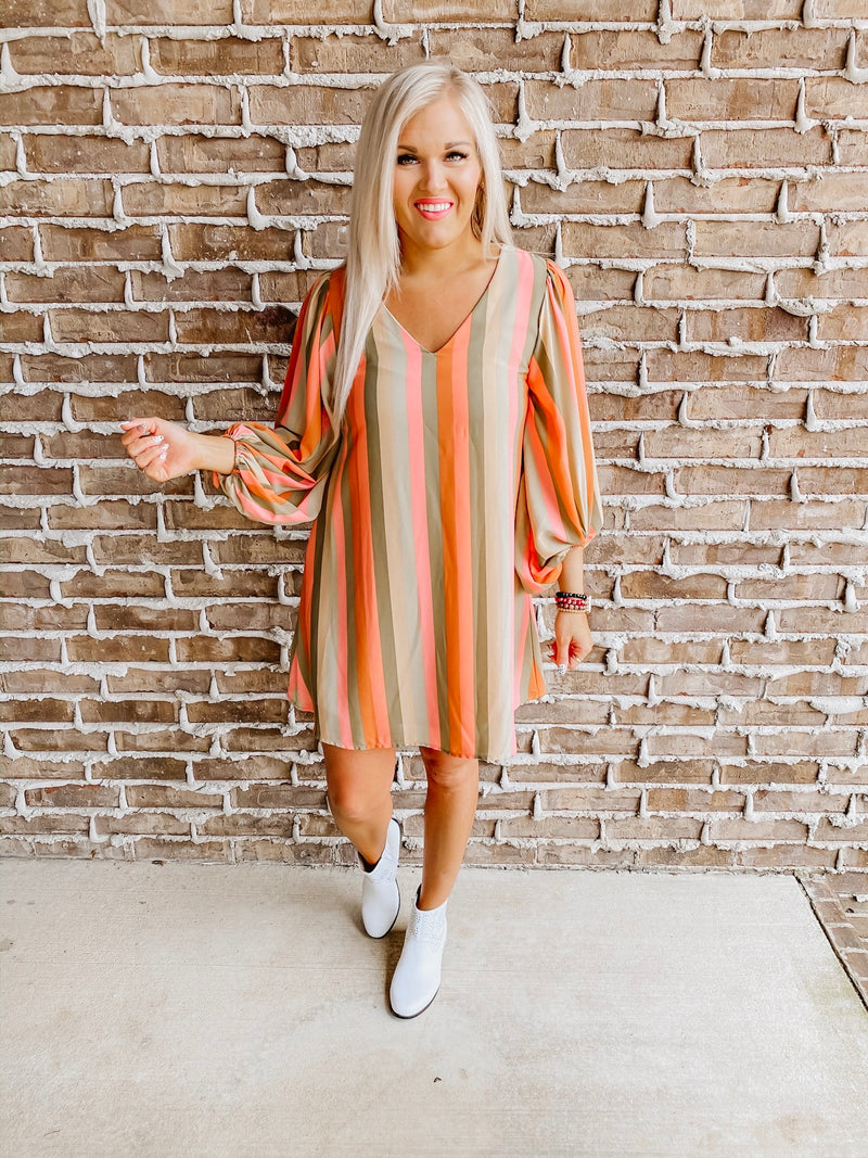 Hues of Spring Striped Dress
