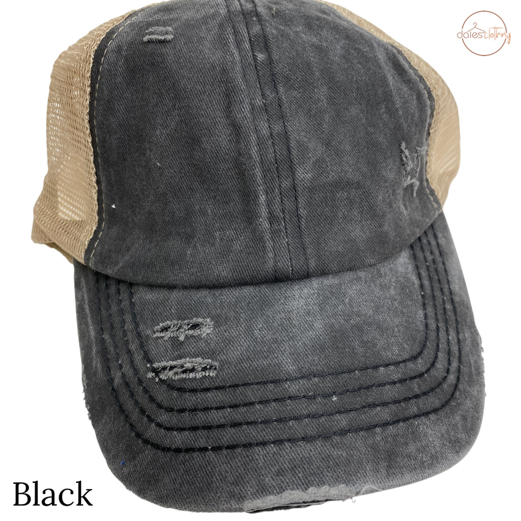 Washed Denim Criss Cross High Pony CC Ball Cap BLK BEIGE