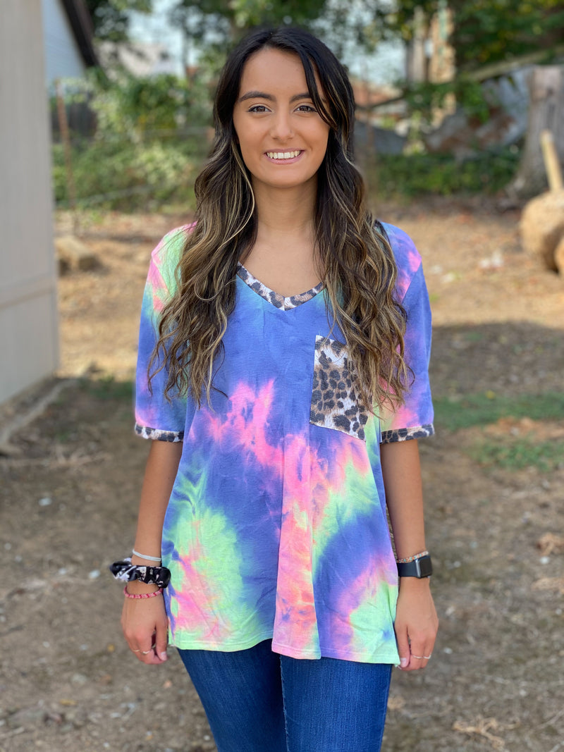 Welcome to My Galaxy Tie Dye Top CHARCOAL